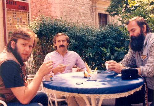 Artur Hajzer, Krzysztof Wielickii Janusz Majer, Trento 1987 fot. Janusz Majer